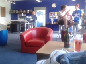 Inside the Sandbach Utd clubhouse.