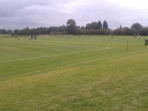 The adjoining pitch hosting a Sandbach Town game. This finished 2-2.