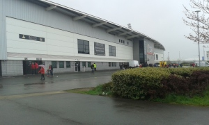 Arriving at a soggy Keepmoat Stadium