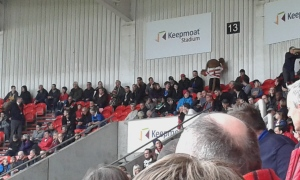 Donny Dog joins in the chants