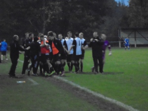 West celebrate their late, late equaliser.