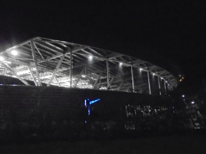 Academy Stadium, after dark.