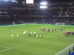 City players acknowledge the away support