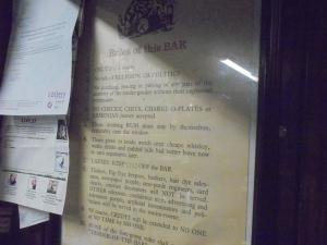 Bar rules.