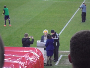 Timmy Mallett doing the half-time draw. Yeah.
